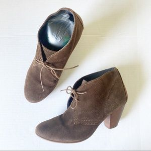 Madewell 1937 Brown Suede Lace Up Heeled Booties